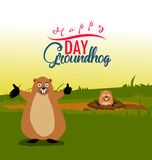 Happy groundhog day card holiday Royalty Free Stock Photography