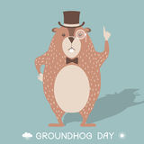 Happy Groundhog day card illustration Royalty Free Stock Images