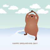 Happy Groundhog Day design with cute groundhog Royalty Free Stock Images