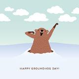 Happy Groundhog Day design with cute groundhog Royalty Free Stock Photography