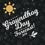 Happy Groundhog Day design with sun and flowers snowdrop, prediction of weather, card or flyer vector illustration.  Royalty Free Stock Photos