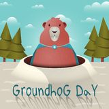Happy Groundhog Day with a funny groundhog character in a raincoat with a brooch. Vector illustration. royalty free illustration