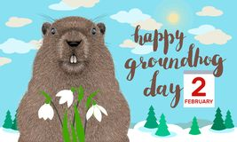 Happy Groundhog Day greeting card. Groundhog Day greeting card with cute cartoon character of marmot ,hand drawn lettering and calendar on winter landscape royalty free illustration