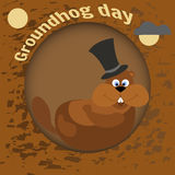 Happy Groundhog Day. Greeting card flat style. Celebration of spring. Marmot in the cylinder awoke in his hole. Groundhog woke up and preparing to leave in Stock Images