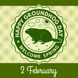 Happy groundhog day greeting card, label or poster. Vector illustration royalty free illustration