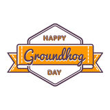 Happy Groundhog day greeting emblem vector illustration