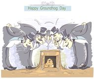 Happy Groundhog day with group of men in cylinder hats and marmo Royalty Free Stock Photo