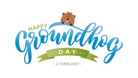 Happy Groundhog Day. Hand drawn lettering text with cute groundhog. 2 February. Vector illustration royalty free stock image