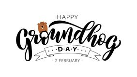 Happy Groundhog Day. Hand drawn lettering text with cute groundhog. 2 February. Vector illustration royalty free stock photography