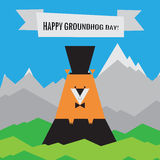 Happy Groundhog Day  Icon. Spring Design With Woodchuck Stock Image