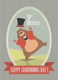 Happy Groundhog Day illustration with cute groundhog Stock Image