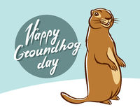 Happy Groundhog Day illustration lettering Stock Photos