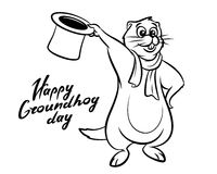 Happy Groundhog Day illustration lettering Royalty Free Stock Photo