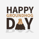Happy groundhog day.logo,icon,cute frightened Marmot emerged from burrows, perfect for greeting cards,invitations Stock Images