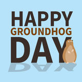 Happy groundhog day.logo,icon,cute groundhog is scared of his shadow,perfect for greeting cards,invitations,posters Royalty Free Stock Images