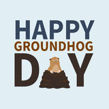 Happy groundhog day.logo, icon,cute happy Marmot emerged from burrows,perfect for greeting cards, invitations,posters Stock Images