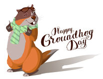 Happy Groundhog Day. Marmot casts shadow. Lettering text for greeting card Stock Photo