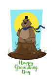 Happy Groundhog Day. Marmot trying to predict weather. Postcard, banner. Postcard of Happy Groundhog Day. Marmot trying to predict weather. Forefinger up, silk Stock Photography