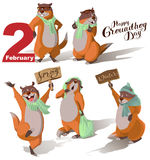 Happy Groundhog Day. Set Marmot casts shadow. Lettering text for greeting card Stock Photo