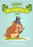 Happy Groundhog Day. Vector illustration with cartoon marmot mascot character Stock Photo