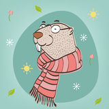 Happy Groundhog Day. Vector illustration with groundhog. Royalty Free Stock Photos