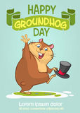 Happy Groundhog Day. Vector illustration with grounhog.. Stock Photo