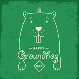 Happy Groundhog Day. Vector illustration with grounhog  Stock Photography