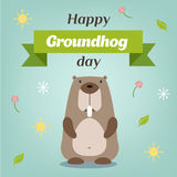 Happy Groundhog Day. Vector illustration with grounhog. Stock Image