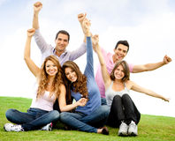 Happy group with arms up Stock Photography