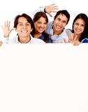 Happy group with banner Royalty Free Stock Image