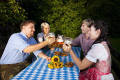 Happy group of bavarian people Stock Images