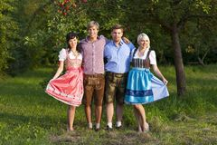 Happy group of bavarian people Royalty Free Stock Photos