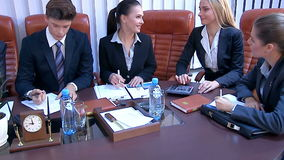 Happy group business people in office stock video footage