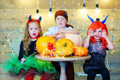 Happy group of children during Halloween party Stock Images