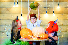Happy group of children during Halloween party Royalty Free Stock Images