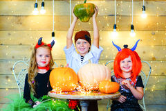 Happy group of children during Halloween party Stock Photography