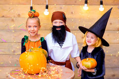 Happy group of children during Halloween party Royalty Free Stock Photos