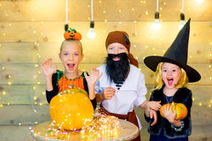 Happy group of children during Halloween party Royalty Free Stock Image
