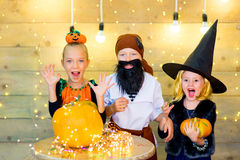 Happy group of children during Halloween party Royalty Free Stock Photography