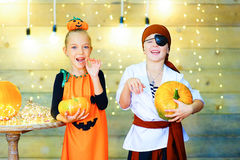 Happy group of children during Halloween party Stock Photo