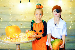 Happy group of children during Halloween party Stock Photos
