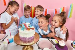 Astonishing Happy Group Of Children Rejoicing At The Look Of Birthday Cake Funny Birthday Cards Online Sheoxdamsfinfo