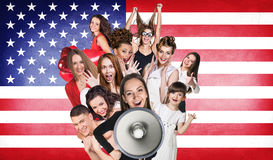 Happy group of diverse students Royalty Free Stock Image
