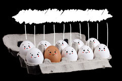 Happy group of eggs with copyspace Stock Photography