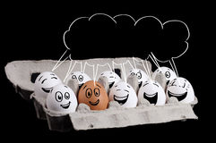 Happy group of eggs with copyspace Stock Image