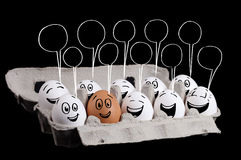 Happy group of eggs with smiling faces representing a social net Royalty Free Stock Image
