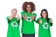 Happy group of enviromental activists giving thumbs up Stock Image
