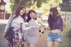 Happy group of female friends having fun Stock Photos