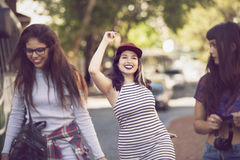 Happy group of female friends having fun Stock Images