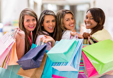 Happy group of female shoppers Stock Image